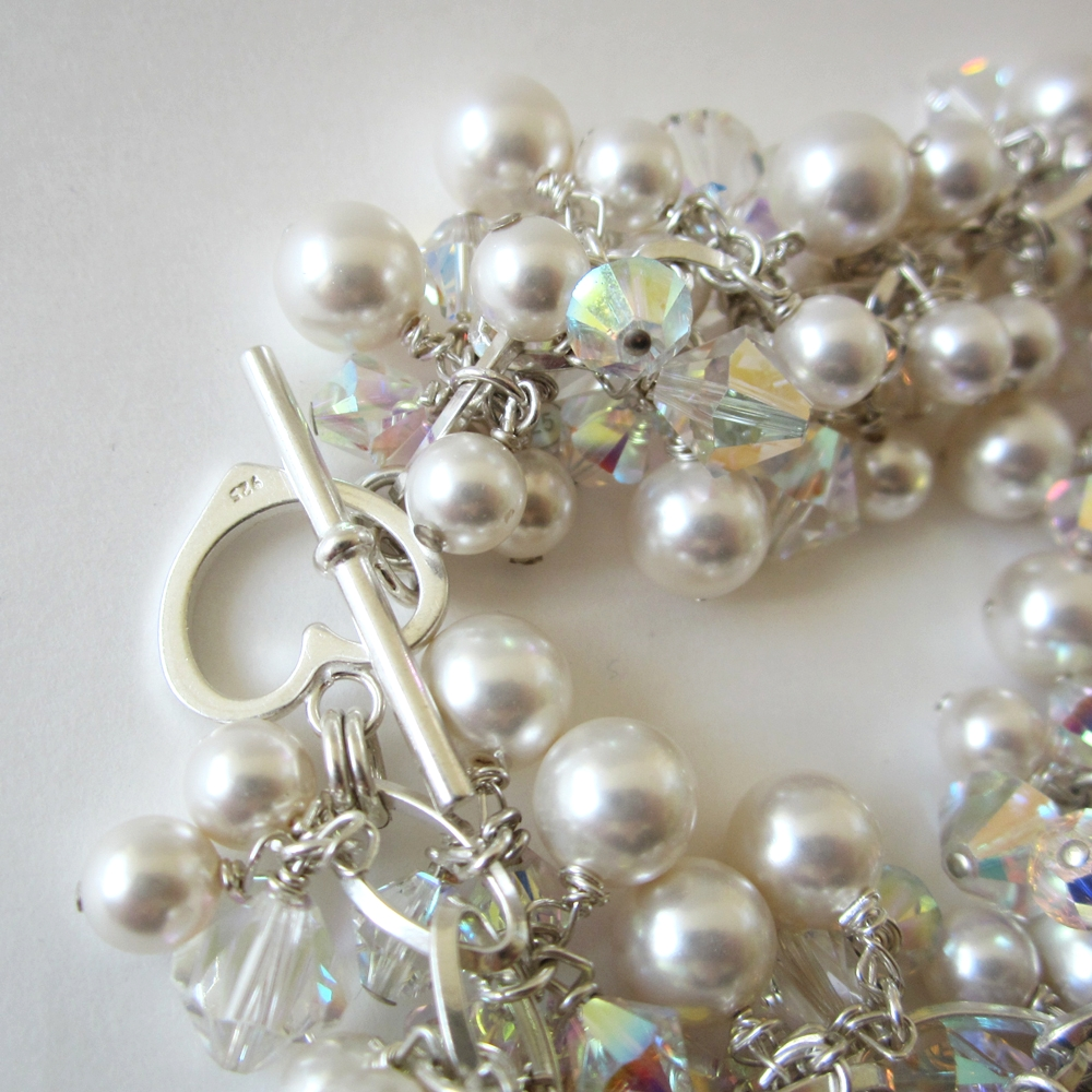 Cluster Bracelet   by Gianna Seca using   Swarovski  ®             Crystals & Pearls