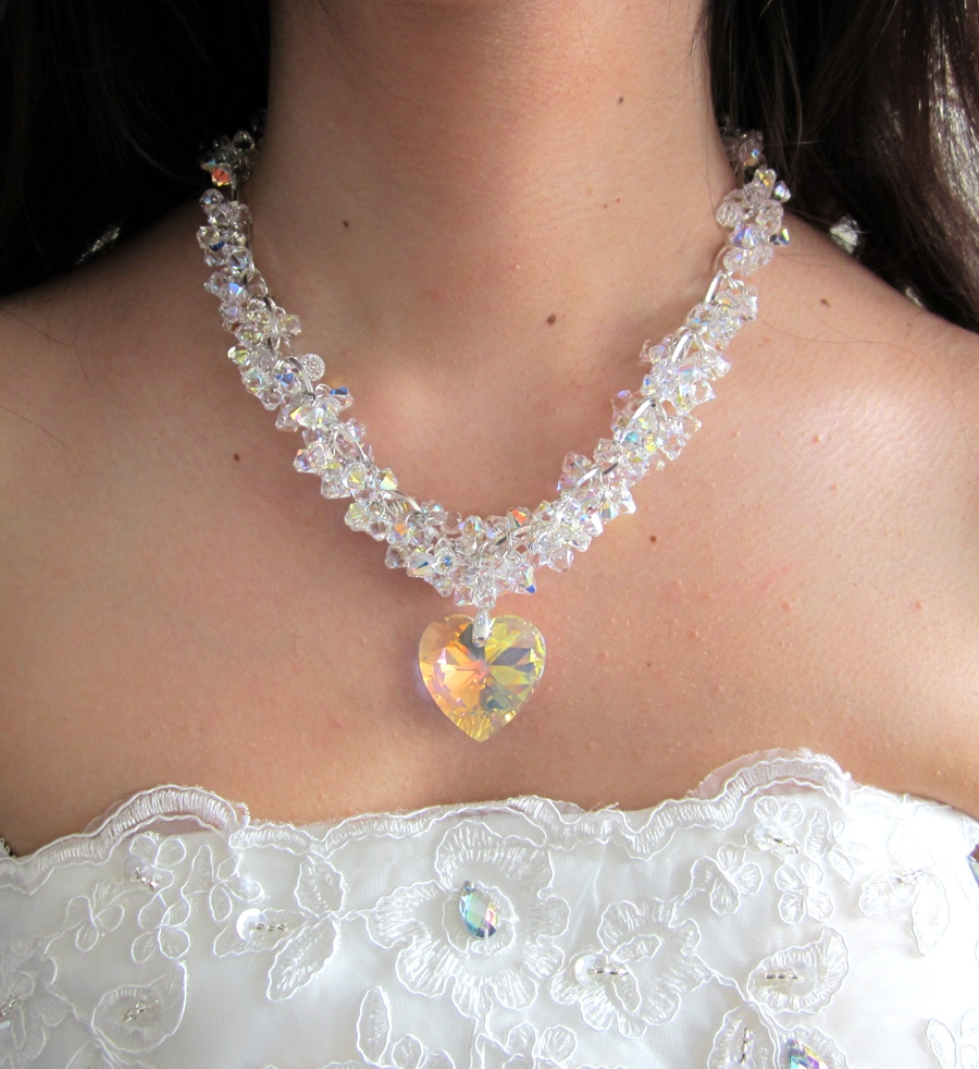 Heart Statement Necklace by Gianna Seca using   Swarovski  ®             Crystals