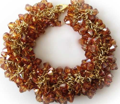 Handmade Gold Vermeil Chain with hand wire-wrapped copper Swarovski Crystals cluster bracelet