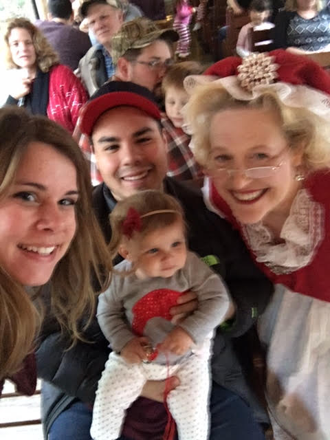 Don't mind our blurry selfie. We were super rushed so Mrs. Clause could move on to the next family!