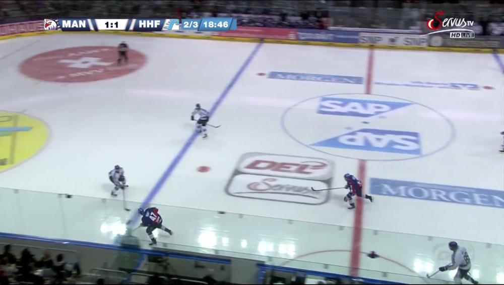 MAN # 47 Ullmann bringt die Scheibe gegen HHF #18 Nielsen ins gegnerische Drittel, 1 Schussversuch, ein Powerplay für Mannheim