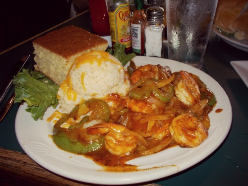 2:36 pm, I ordered the Shrimp and Grits. That mound? Grits. That brick? Sweet cornbread. Heavenly.
