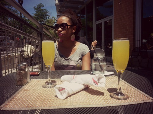 12:53 pm, Obligatory brunch mimosas.