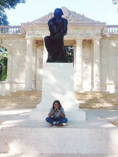 5:30 pm, On our way back to the car, we almost completely missed the Thinker statue outside the Rodin Museum.