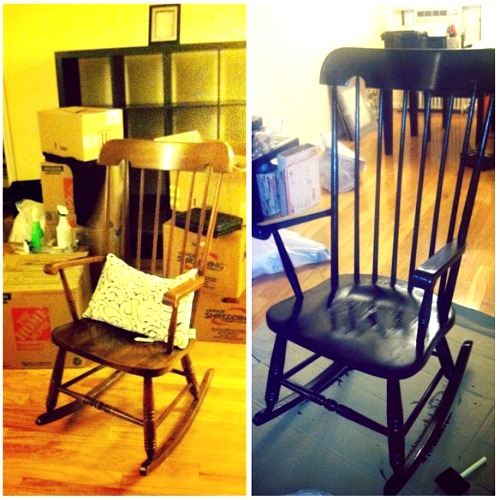 When I moved in, I knew I wanted a rocking chair.  I didn't want to spend a lot on it so I was pleasantly surprised when I walked into my local Goodwill and found this beauty for $10!  I still had leftover high-gloss black paint from some previous projects, so I went to work painting it black.  Easy project that dried and got repainted over the course of a few days.  I think there was half a quart or so used, if that.