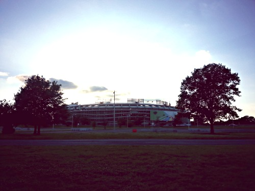 7:26 pm, Since I was unconcerned about time, I stopped and took pics along the way. This is the RFK stadium as dusk hit.