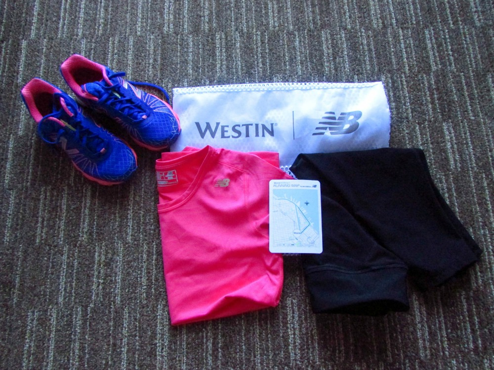 7:03 am, One of the benefits of staying at a Westin is their Gear Lending Program, which allows guests to rent a shirt, capris, and shoes for $5.  Plus a map with suggested 3- and 5- mile routes to help you on your way.  Just another incentive to get up and hit the pavement....