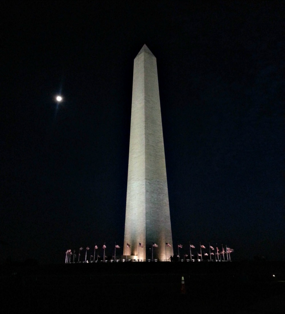 9:20 pm, What's a trip to DC without a view of the Washington Monument?