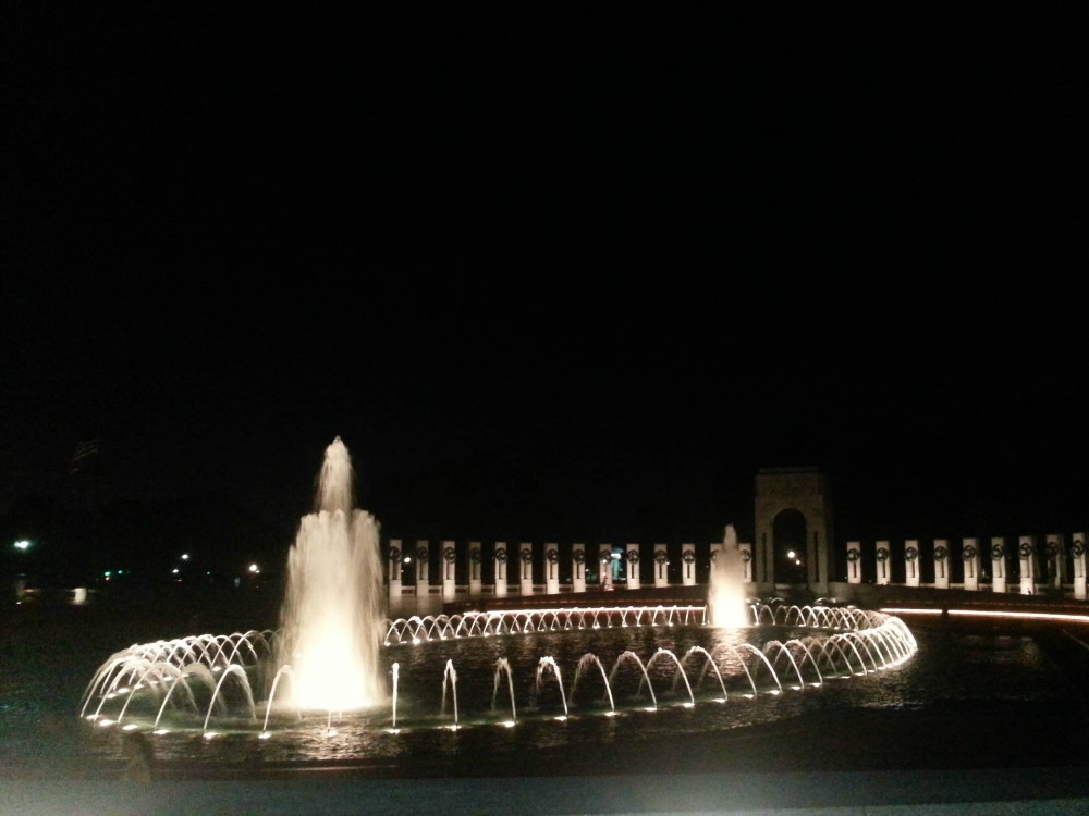 9:42 pm, I've actually seen the WWII Memorial on my runs past several times, but never really stopped to look at it (except to find the Georgia pillar, of course).  It's so pretty lit up at night.
