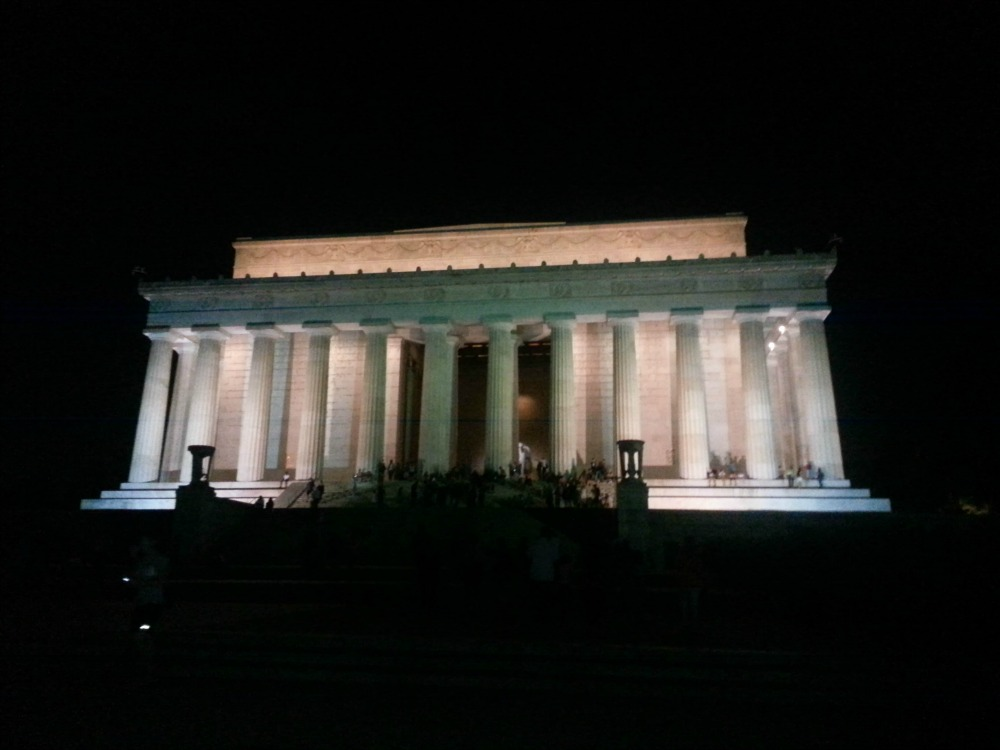 9:54 pm, There are few places I love in the city at night more than the Lincoln Memorial (actually, there's only one) and this picture is just a small reason why.  It's so peaceful, and even with a full crowd in the middle of the night, it's actually fairly quiet.  Take your date up there and revel in it.  You're welcome.
