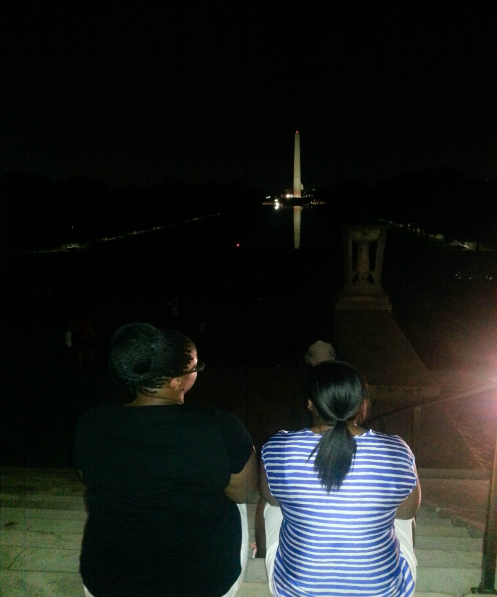 10:04 pm, A view from the Lincoln Memorial stairs.