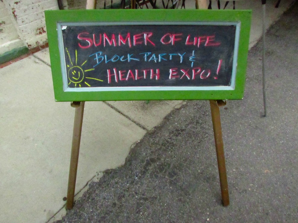 In addition to the warehouse itself, there was a block party and health expo! There were booths, activities, and even a free food giveaway (I walked away with greens, potatoes, and watermelon :)