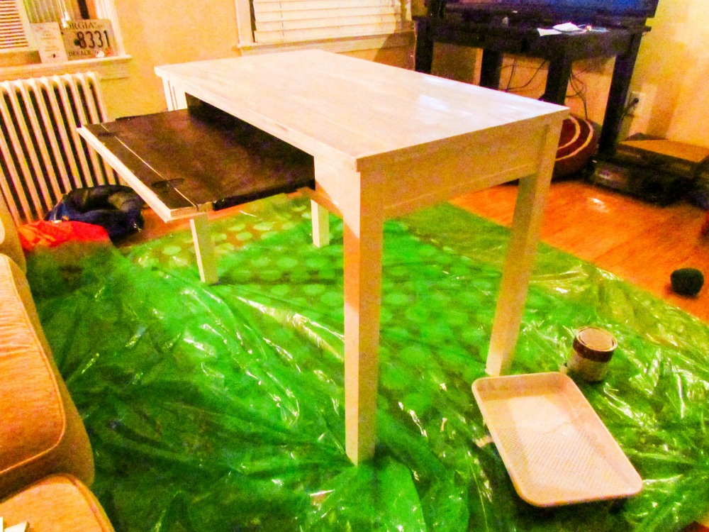 After that, it was pretty straightforward.  I painted, and painted, and repainted.  As you can see, the locale of the desk had to change. Why? Because the next project stole the middle of the room.