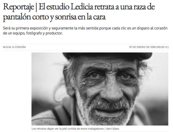Reportaje publicado por El Ideal Gallego. 19 de Enero 2018