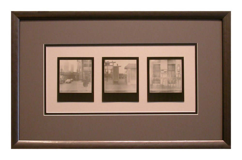 The customer created a series of three Polaroid photographs that document the three places that he and his girlfriend visited on their first date.  The sepia-toned images have been float mounted and placed within a window in a double mat and surrounded by a metallic-finished wood frame.