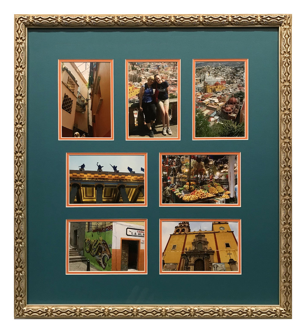 A selection of photographs from a mother-daughter trip to Mexico are arranged in a multiple-opening mat to document the adventure.  The vintage-looking gold frame adds an elegant touch to the design and makes a reference to the old architecture depicted in some of the photos.