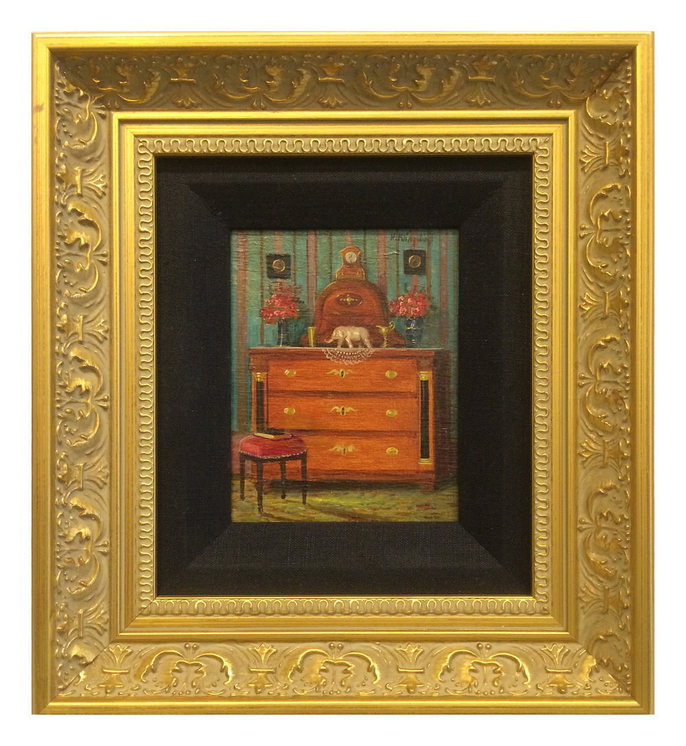 This highly detailed oil painting of a room scene is tiny...only about 2 inches by 3 inches, but it is given an air of importance by framing it in an ornate gold frame with a black fabric liner.