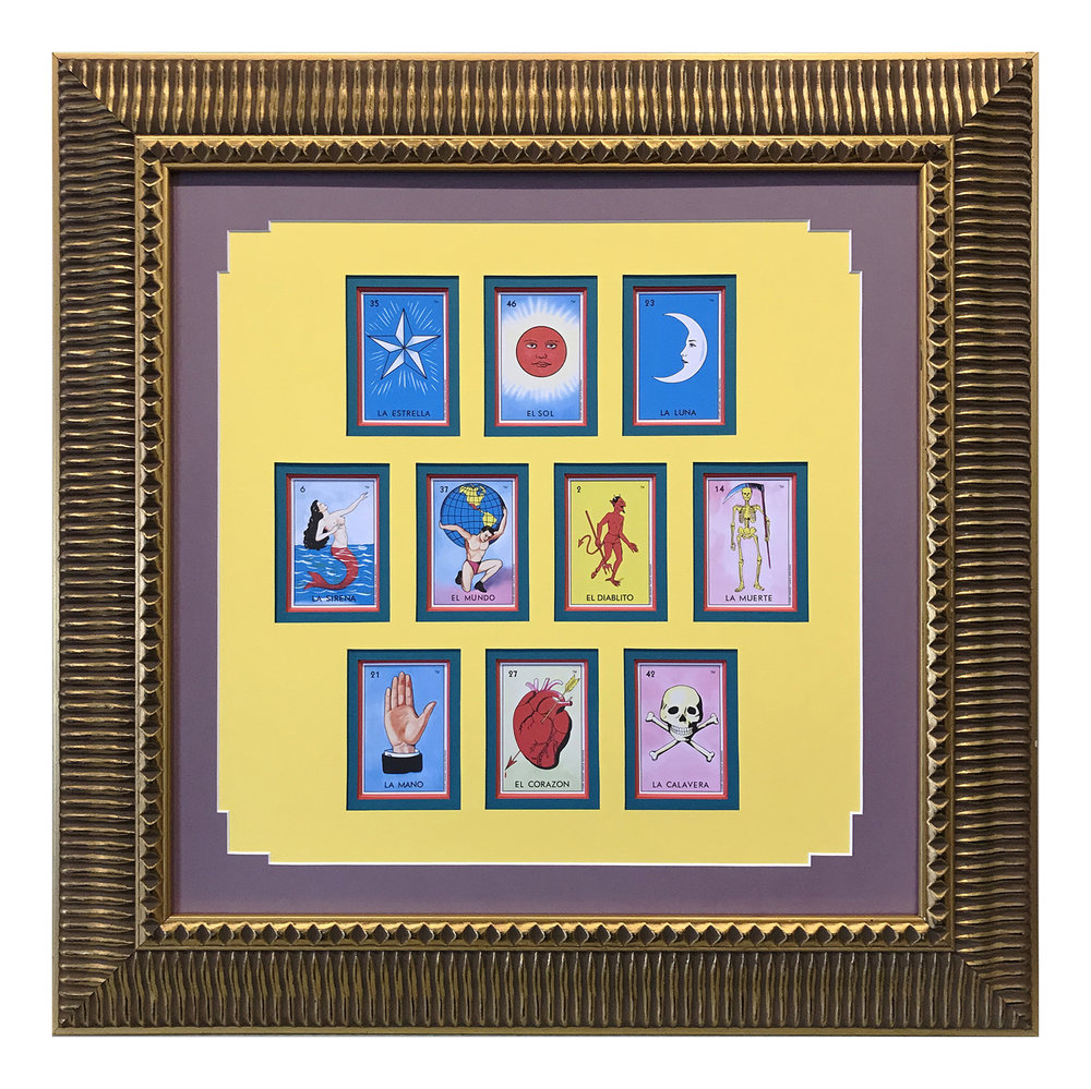 A collection of traditional Mexican Loteria cards are grouped within a four-layer mat and a wide, ornate gold frame.