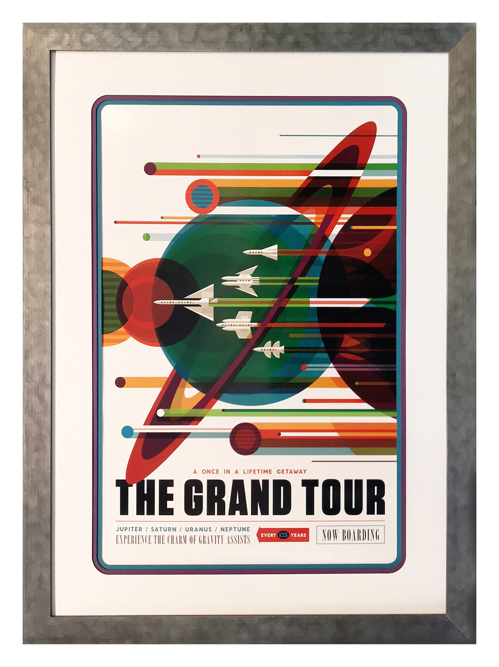 This fanciful interplanetary travel poster was designed by NASA's Jet Propulsion Laboratory. To harmonize with the poster's retro look, triple mats with rounded corners and coordinating colors were paired with a polished metal-veneer frame that suggests the metal skin of a space craft.