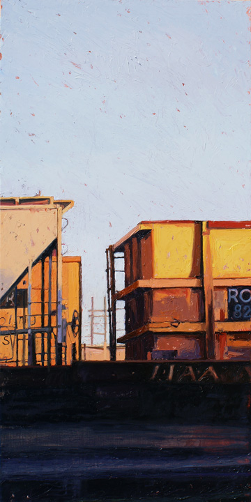 "Sharon Feder, ""Trainyard No. 8,"" oil on panel, 48 x 24 in. George Billis Gallery LA"