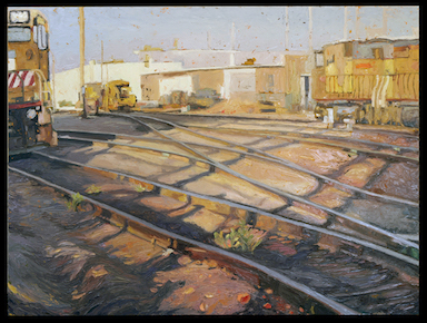 Sharon Feder, Trainyard No. 1, oil on panel.  Courtesy of the artist.