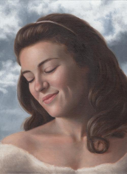a portrait of a smiling woman