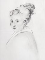 a drawing of a woman's portrait
