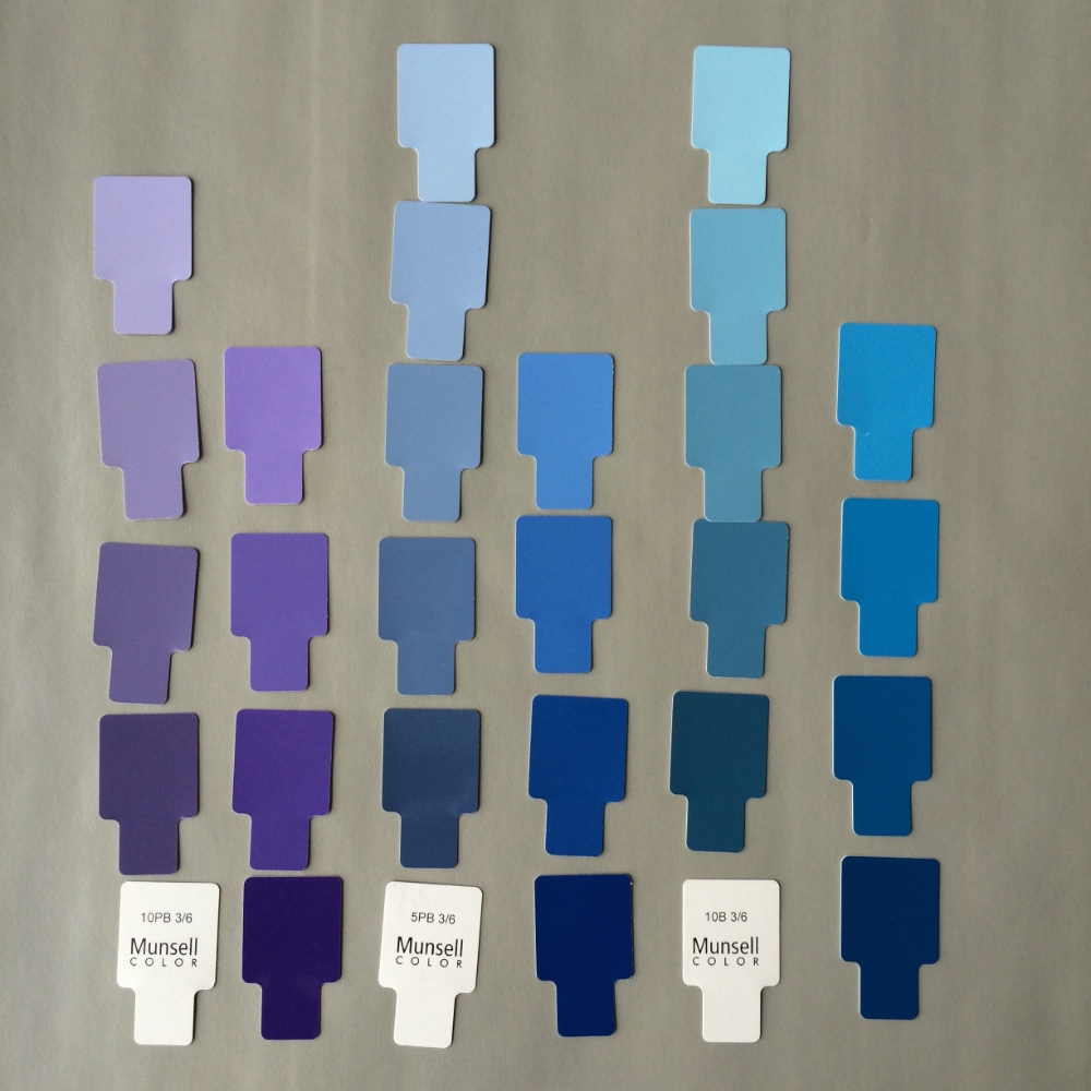 An example of an analogous color scheme with a space of 5 Munsell hue designations in between each chosen hue. The chroma included for each hue is a chroma of 6 and 10 with values between 7 and 3.
