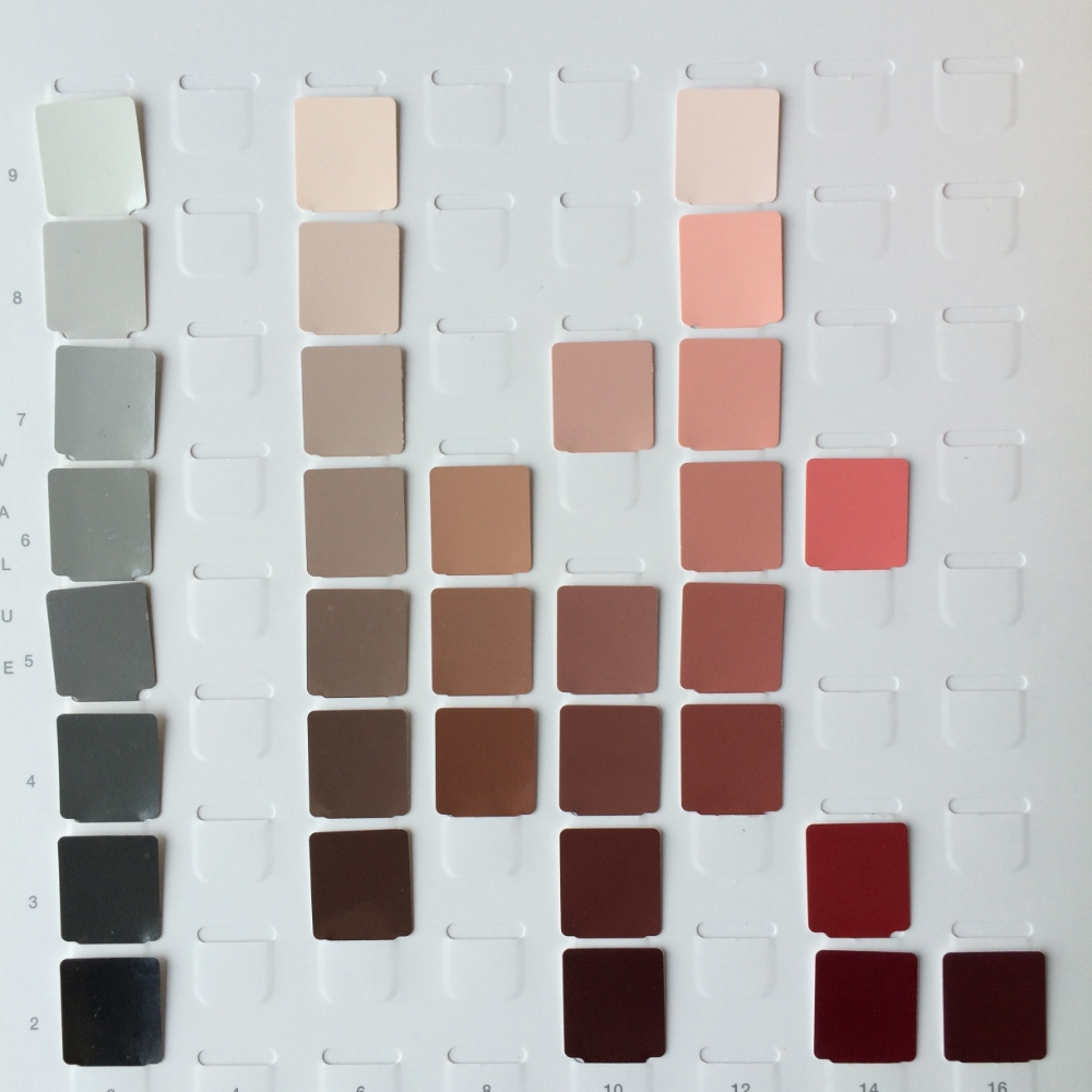 An example of a color palette design for an upcoming painting. Left: my strand of neutral gray that I like to have nearby for comparison of chroma and value. The remaining color strands are for my lower chroma background, model's clothes and flower blossoms.