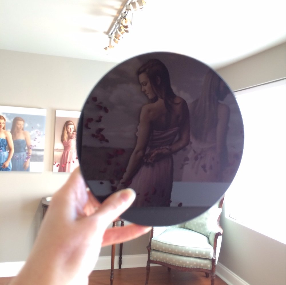 "6"" Black (scrying) mirror with a beveled edge from Amazon."