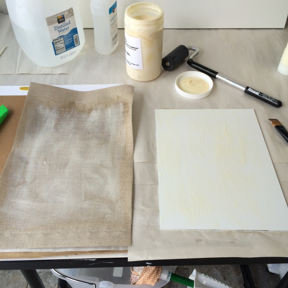 Distilled water, nitrile gloves, box cutter, rubber roller, paint brush, BEVA gel and rubbing alcohol and canvas panels.