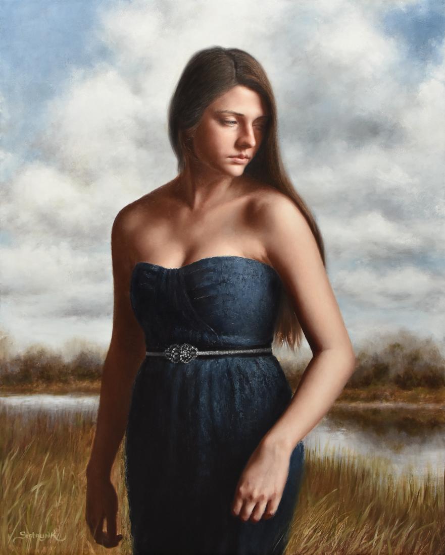 orange rose petal and figure in a landscape oil painting