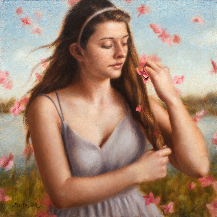 "Spring Shower   The renewal of life that occurs every spring holds such magic, hope and anticipation of beautiful things to come. Here is ""Spring Shower"" a painting in celebration of my favorite time of year. 12""x12"" Oil on Panel"