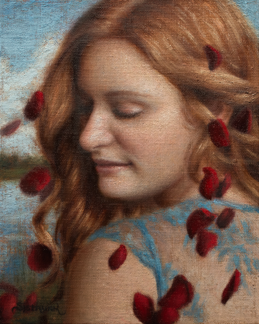 "Whisper   I have a secret! Can you keep it? 8""x10"" Oil on Panel"