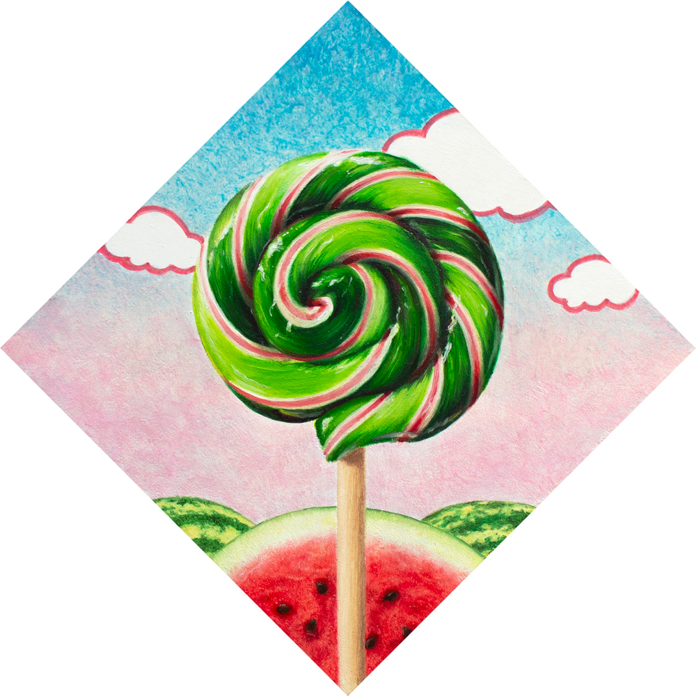 A painting of a red and green lollipop over top of watermelons.