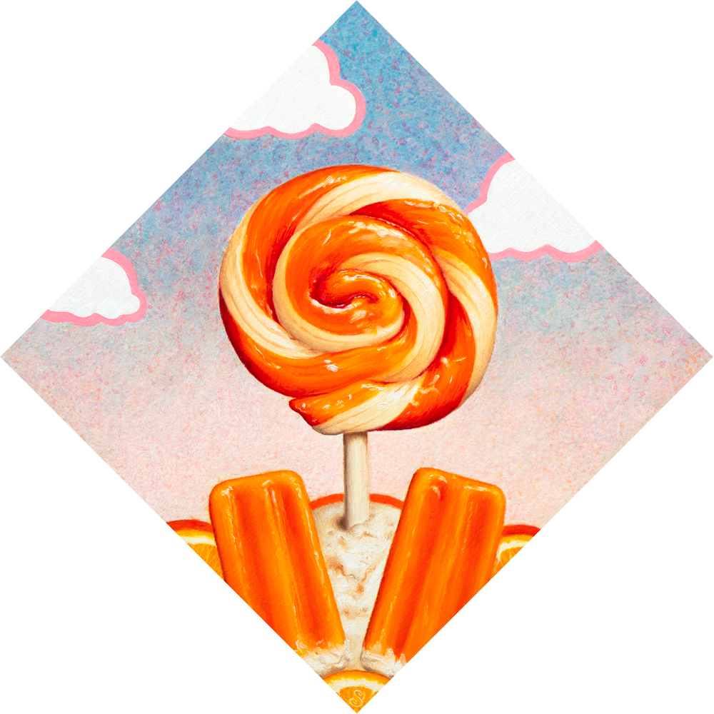 A painting of a orange and cream lollipop over top of creamsicles and oranges.