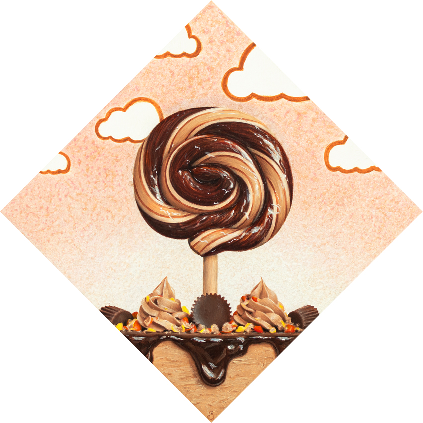 A painting of a brown and cream lollipop, reeves pieces and peanut butter cup pie.