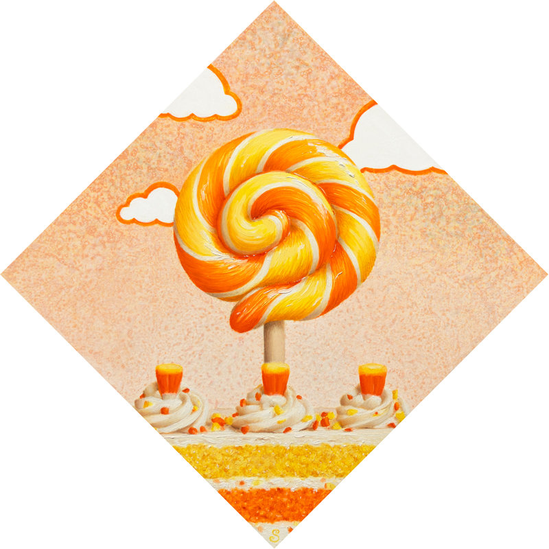 A painting of a yellow, orange and white lollipop over top of candy corn and cake.