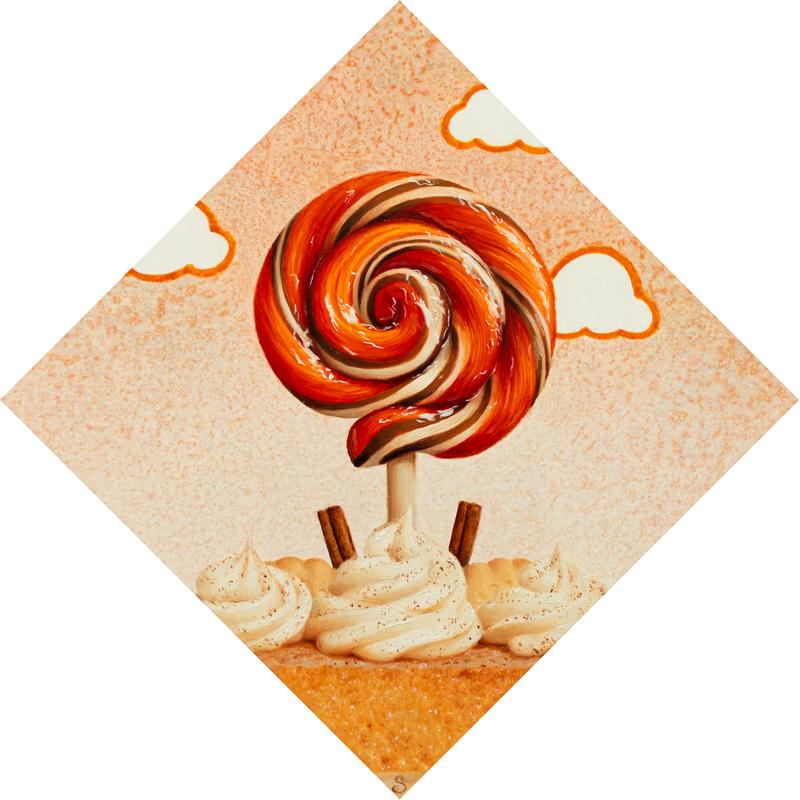 A painting of a orange, white and brown lollipop over top of a slice of pumpkin pie.