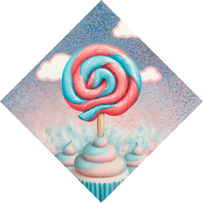 A painting of a blue and pink lollipop, cupcakes and cotton candy.