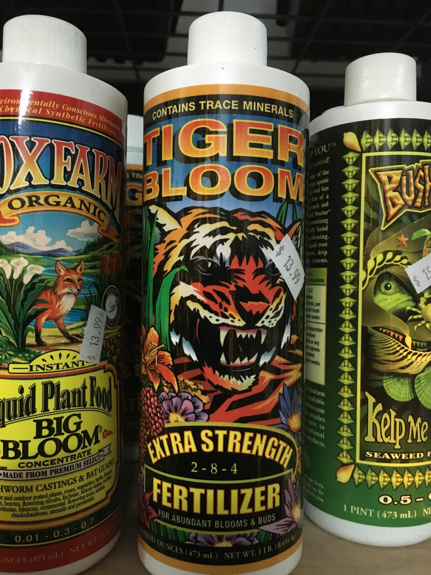 FOXFARM TIGER BLOOM FERTILIZER 1 PINT Vicious Bloomer with Micronutrients (  2 - 8 - 4 ) — Natty Garden