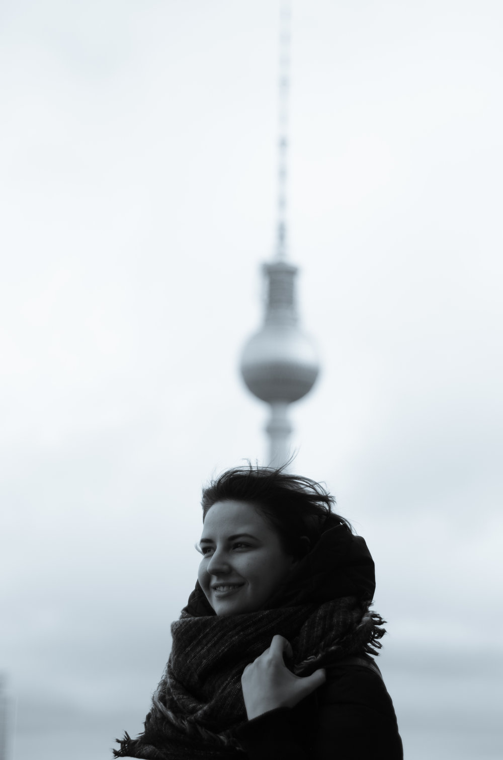 Anya is enjoying the view from the top of the Berlin Dome. Berlin TV tower in the background.