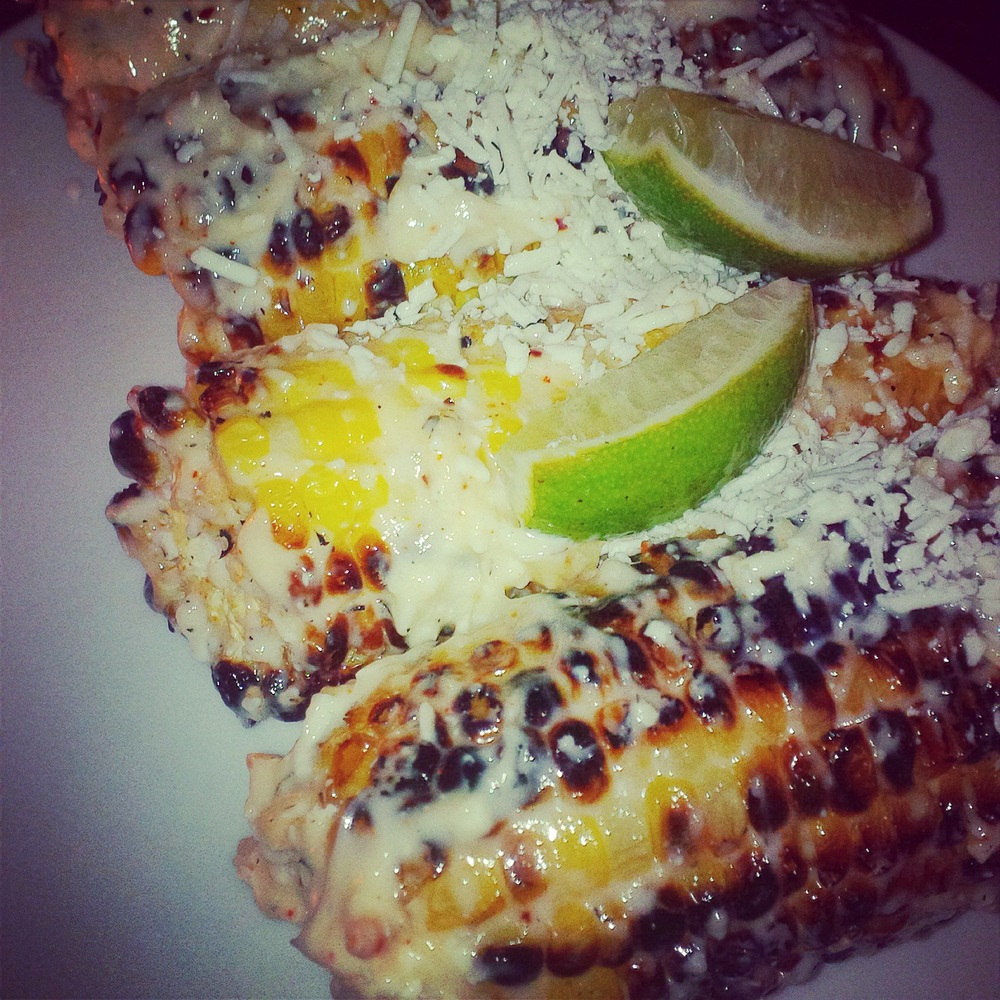 Grilled corn with alioli, lime, espelette pepper and aged cheese