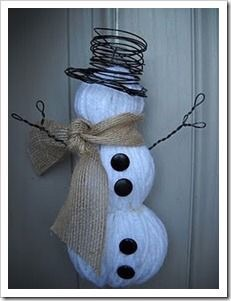 Snowman made of yarn, buttons, burlap, and wire!