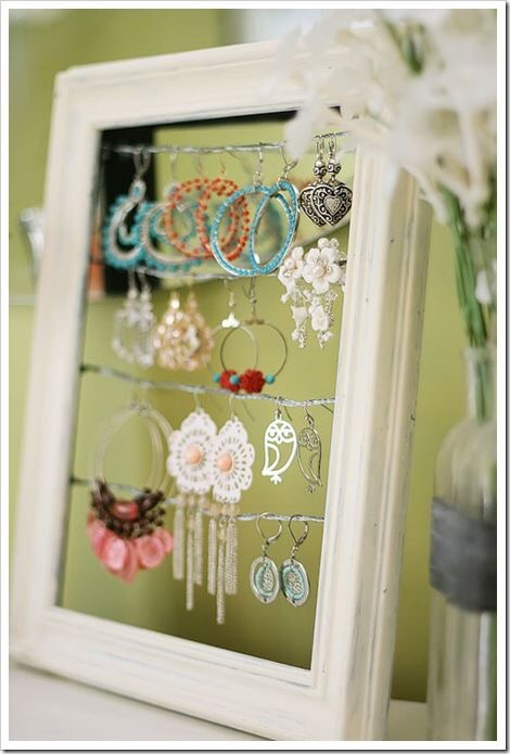 A decorative frame with wire to hang your favorite earrings.