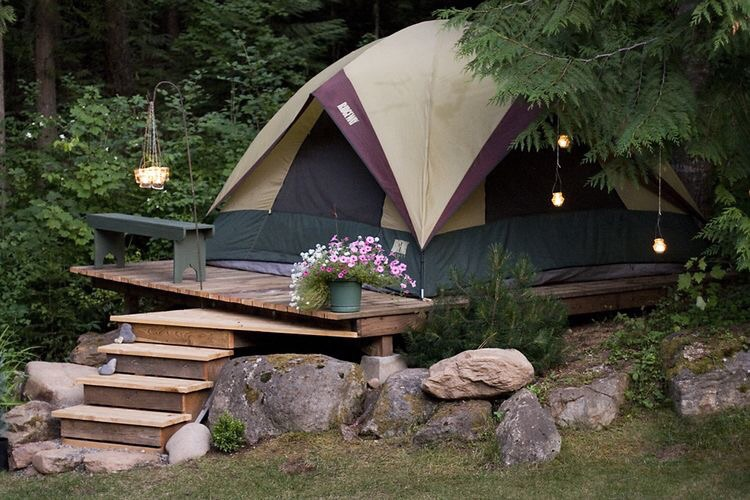 Make a permanent spot for your tent year round.