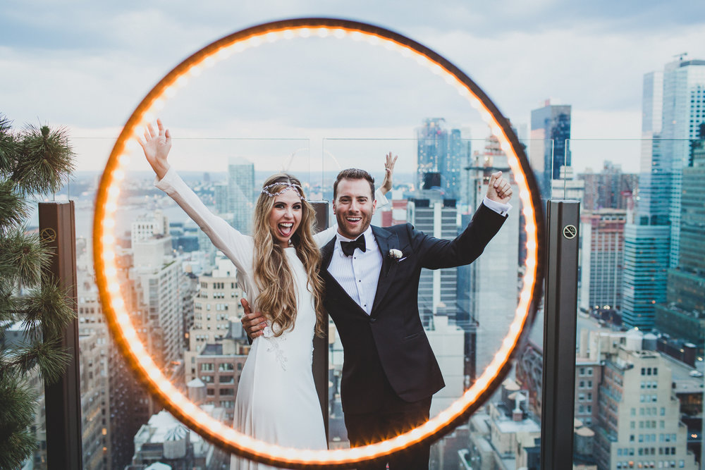Happy Bride and Groom at Skylark in New York