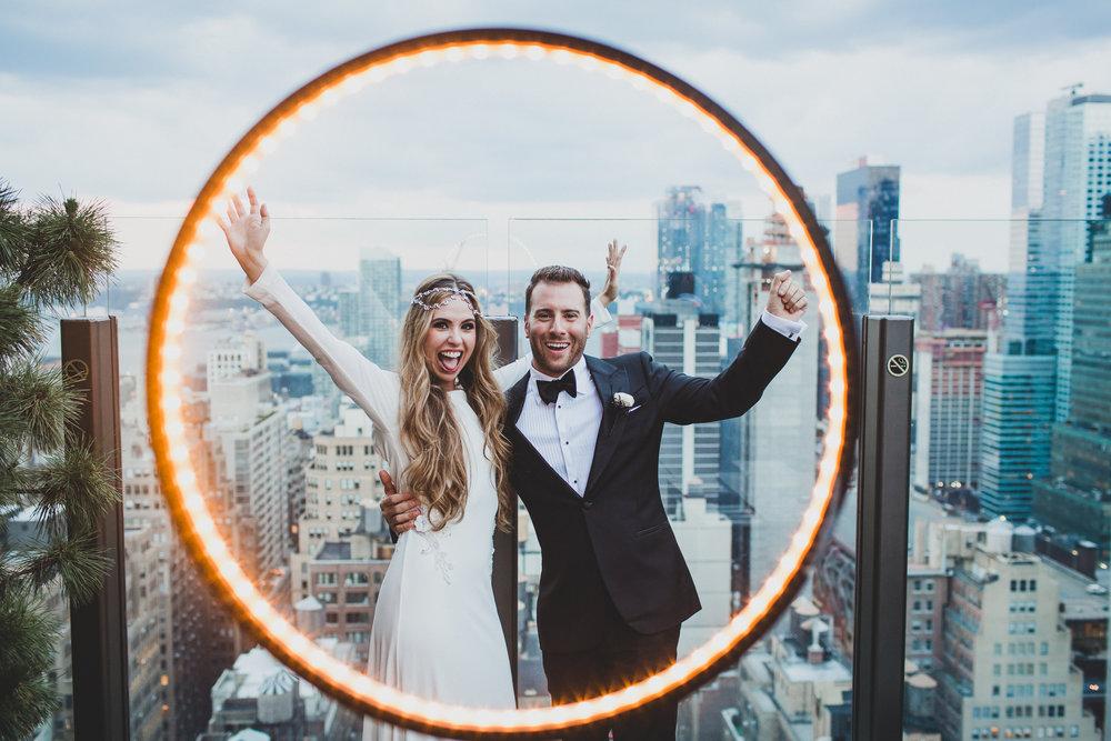 Happy Bride and Groom at Skylark in New York