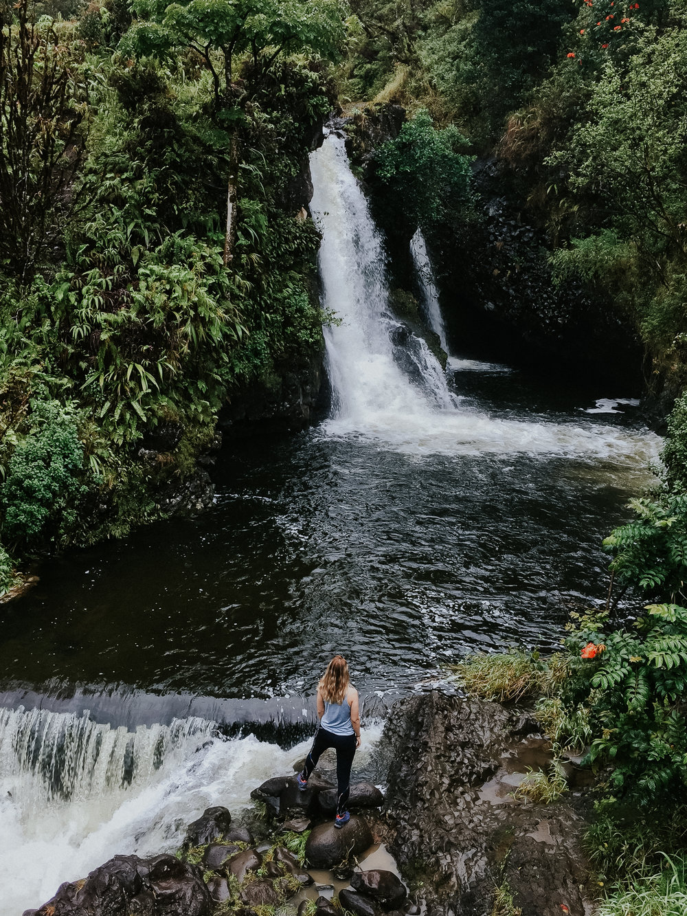 You can literally hop out of the car and go watch a beautiful waterfall when you are on the Road to Hana. Even if you are not prepared to hike (especially in the rain!) it's still majestic in every way