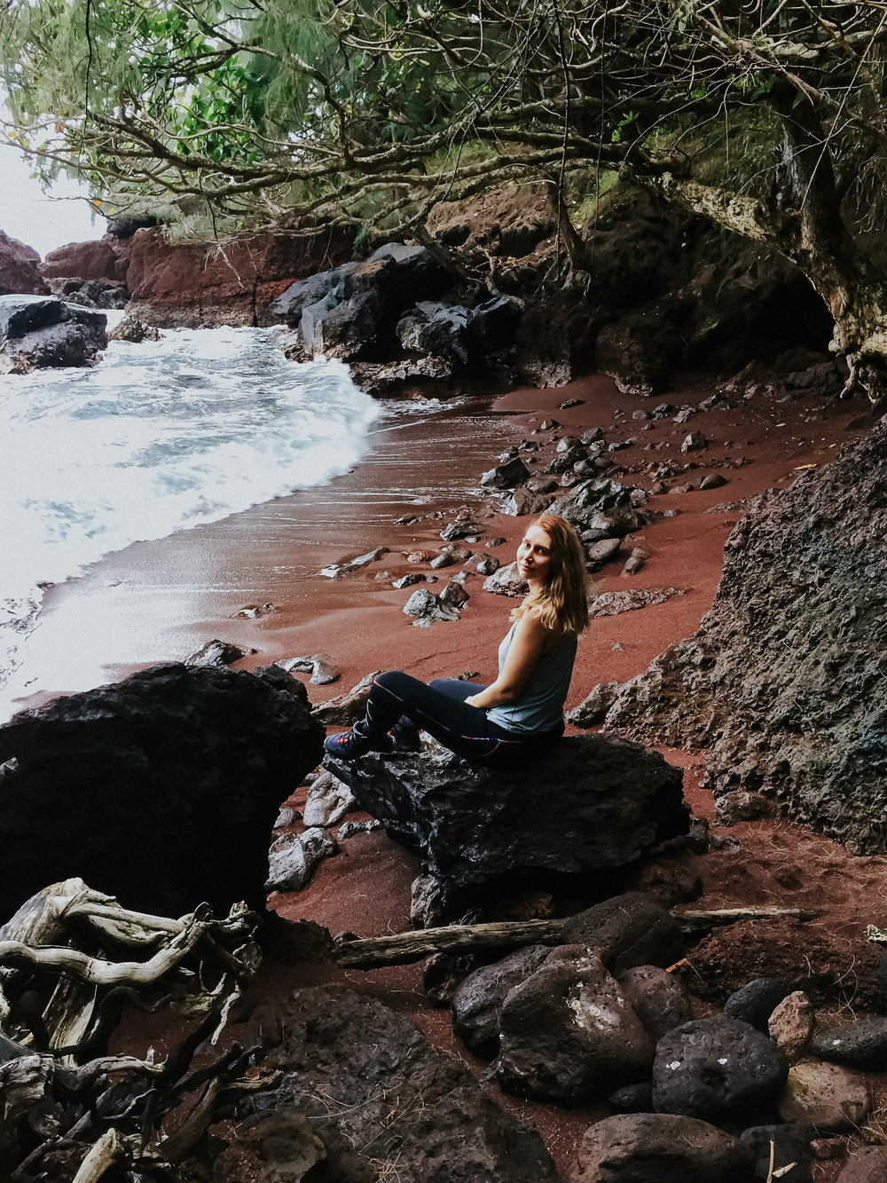 Our lack of planning resulted in a spontaneous hike in the town of Hana. Apparently there is a bigger more famous red sand beach on the other side of hidden trail but we still found a little piece of secluded red sand beach for ourselves